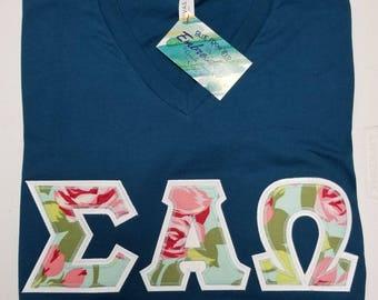 Custimized your Floral Sorority Greek Letter V-Neck Shirts