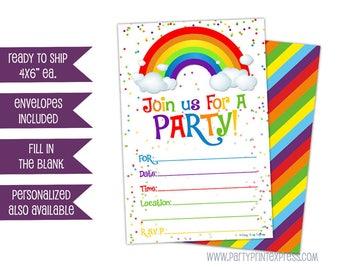 10ct Printed Rainbow Invitations - Rainbow Birthday Invites - Rainbow Party Invitations - Fill In Blank - Ready to Ship - Packs - Rainbows
