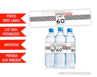 60th Birthday Party Favors - Adult Birthday Decorations - Personalized Water Bottle Labels - Speed Limit Sign Party Favor Over the Hill Men