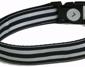 Dog Collar, Stripe - Black and White