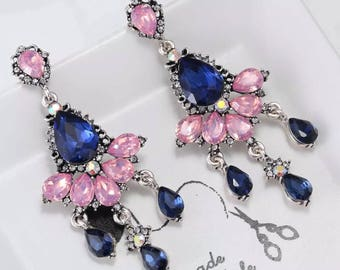 Crystal rhinestone dangle statement earrings