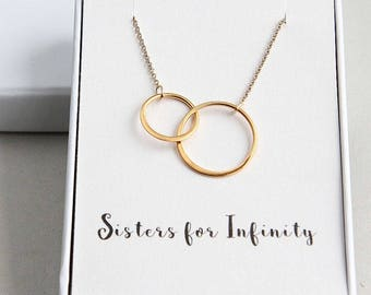 Two Ring Necklace, Sisters Necklace, Double Circles Necklace, Eternity Necklace, Gold Ring Necklace, Infinity Necklace, Sister Gift Necklace