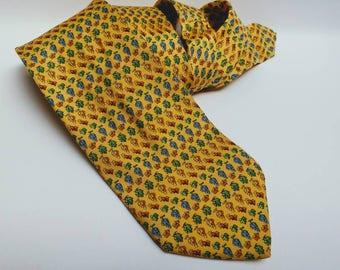 Vintage silk Beaufort Tie Rack eine vineyard tie yellow