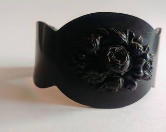 Antique Victorian vulcanite mourning cuff bracelet