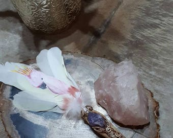 Handmade (with handpainted feather ) smudge fan with amethyst