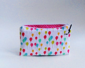 Balloons little pencil case, pink polkadots, Child, Pouch,make-up,pencil,school items,travel pouch, gift idea,maaroza,cosmetic pouch