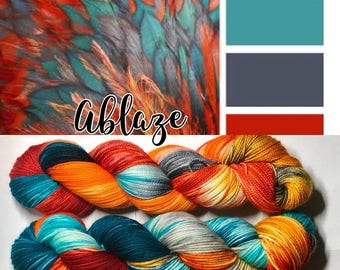 Ablaze! Indie dyed yarn! Single ply.  Ready to ship