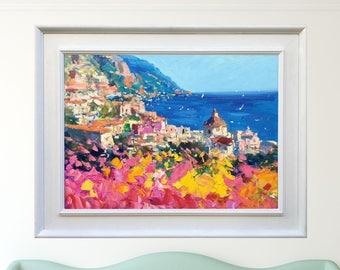 Positano Painting Canvas Art Amalfi Coast Italy Painting Positano Art Italy Wall Art Italian Original Painting Christmas Gifts for Women