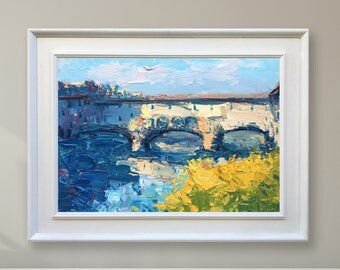 Ponte Vecchio Florence Painting Italy Painting Florence Art Cityscape Art Bridge Art Florence Italy Art Impressionism Art Anniversary Gifts