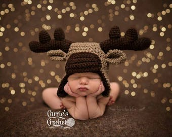 Ready To Ship -- Crochet 0-3mo Moose Hat -- Best Seller!
