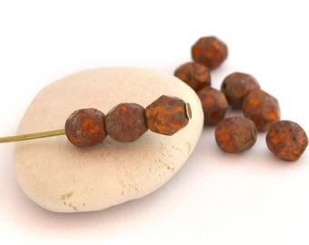 Set of 10 Czech glass beads from Czech 6 mm rust color / PT063