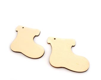 Embellishments boots wooden Christmas decoration set of 2