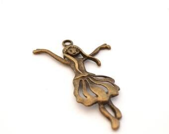 Bronze color dancer pendant charm