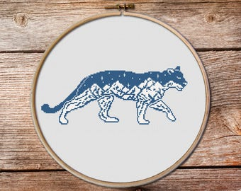 Cougar Cross Stitch Pattern, puma, American mountain lion, panther, keeper of the night cross stitch pattern, mountains cross stitch #010