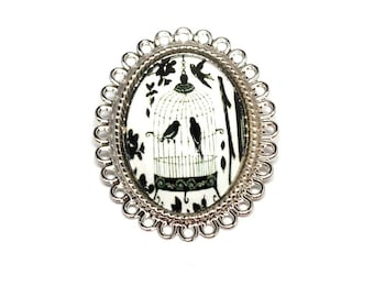 Fancy cage and birds cabochon jewel brooch