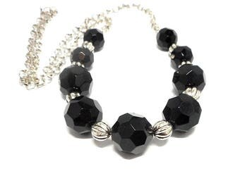 Necklace black and silver beads