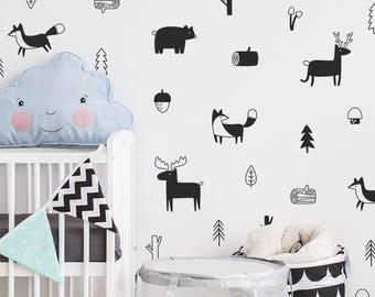 Woodland Wall Decals - Nursery Decals, Forest Decals, Tree Wall Decals, Animal Decals, Woodland Nursery Wall Stickers