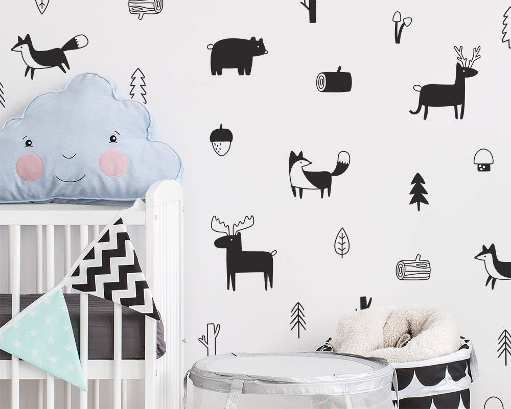 Woodland wall decals nursery decals forest decals tree zoom amipublicfo Images