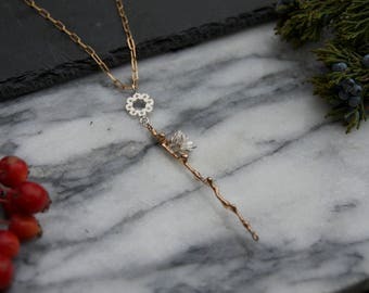 Bronze Twig and Silver Succulent Necklace