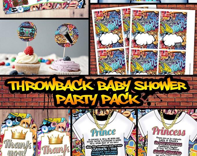 Fresh Prince, Baby Shower, Hip Hop, 90s throwback party,, birthday invitation, Graffiti, cupcake topper, food tent, diaper raffle