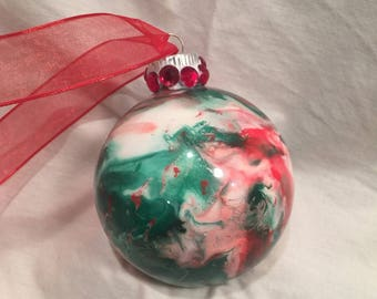 Inside Swirl Marble Painted Glass Christmas Ornament Red, White and Green Rhinestone
