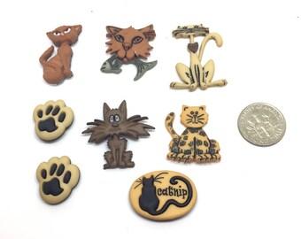 Alley Cat Push Pins Thumb Tacks or Magnets Your Choice