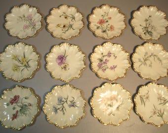 Set 12 A. Lanternier Limoges Dessert Plates w/Flowers & Scalloped Gold Borders