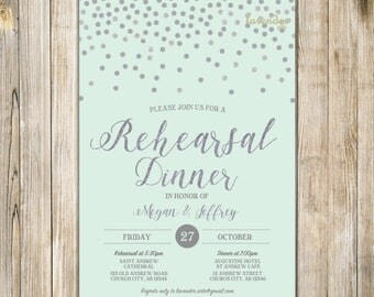 Mint Silver Glitters WEDDING REHEARSAL DINNER Invitation, Silver Confetti Rehearsal and Dinner Invite, The Last Night Practice Makes Perfect
