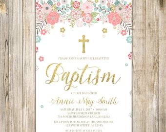 Gold Pink Floral BAPTISM Invitation, Printable Girl Baptism Invite, Baby Girl Garden Holy Communion, CHRISTENING Christian LDS, Whimsical