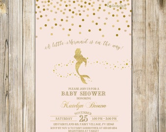 Pink MERMAID BABY SHOWER Invitation, Gold Confetti Mermaid Baby Sprinkle Invite, A Little Mermaid Baby Girl Shower Invites, Under the Sea