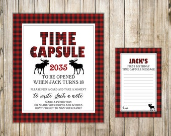 LUMBERJACK First Birthday TIME CAPSULE, Boy Time Capsule Sign & Card, Winter 1st Birthday Time Capsule, Buffalo Plaid Shower Wishes, Moose