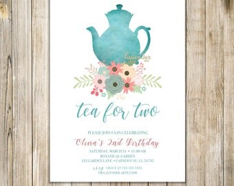 TEA FOR TWO Invite, Tea for 2 Invitation, Girl 2nd birthday, Floral Birthday Tea Party, Rustic Second Birthday, Afternoon Tea, Shabby Chic