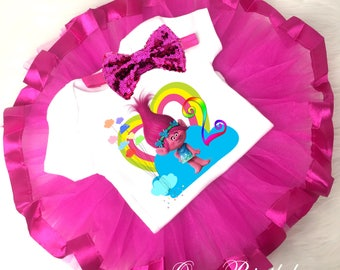 Birthday Trolls Poppy Troll Rainbow Pink Cute 2nd Second Shirt & Tutu Set Girl Outfit Party Dress sq Headband Custom Size