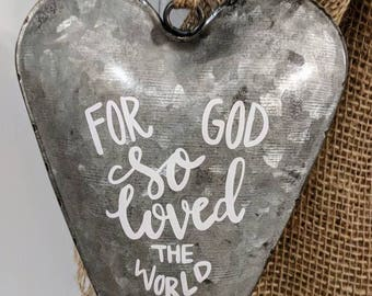 For God So Loved the World Galvanized Heart Wall Decor John 3:16