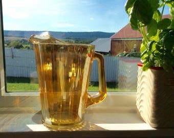Vintage Carnival Glass Pitcher Marigold Large