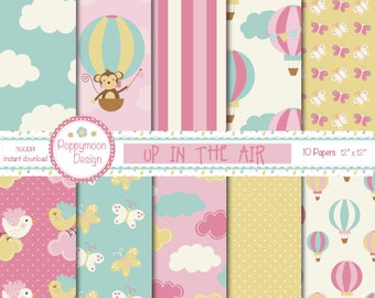 Up in the air, pink balloons, Digital Paper Pack