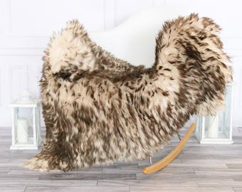Sheepskin Rug | Real Sheepskin Rug | Shaggy Rug | Chair Cover | Sheepskin Throw |  Brown Sheepskin | #HERSEPT15