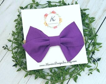 Purple hand tied bow, purple bows, nylon headbands, baby girl headbands, purple tied bows, baby hair bows, toddler hair bow, hair clips, bow