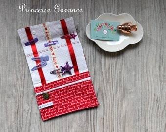 Christmas, birthday * small clutch to hair clip, elastic, cotton, Love, in stock