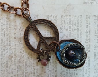 Peace Sign BOHO Necklace, Copper & Aqua Bowl, Pewter Wrapped Wire Bird Nest, Gray Bead Inside,Brown Bead and Gear on Decorative Copper Chain