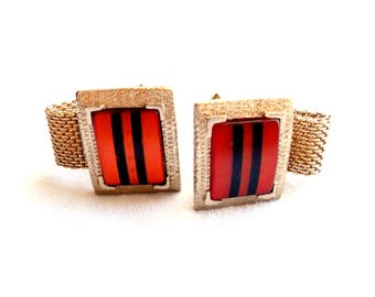 Vintage Hickok Cufflinks Striped Lucite Cuff Links Mesh Wrap Red Black Made in USA America Formal Wedding Gift Gold Tone
