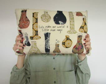 Lets Make Our World a Little More Magic Potion Bottle Embroidered Cushion | Decorative Pillow