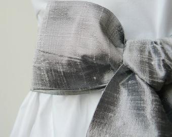 Handloom Silk Dupion Wedding Sash for Flowergirl - Silver Grey
