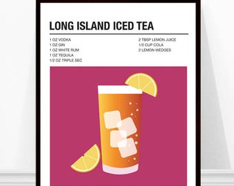 Long Island Iced Tea Print, Cocktail Print, Cocktail Recipe Art, Alcohol Print, Long Island Iced Tea Recipe