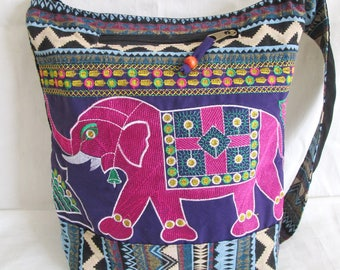 SALE 20% off and Free Gift !!! ** Hill Tribe Embroidered Shoulder Bag Boho Hippie Cross Body Messenger Elephant Travel Bag 2 Side Color