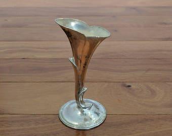 """Vintage Silver Plate Elegant Small Trumpet Bud Vase 5"""""""