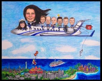 Custom caricature, retirement gift, retirement for women, retirement for men, airplane caricature, corporation gift, flying caricature, jets