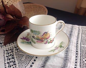 Demitasse cup and saucer . Mandarin birds. Royal Worcester .