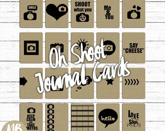 OH SHOOT cards, 3x4 journal cards, chipboard, cardboard, kraft, cameras, journal cards, printable cards, digital journal card