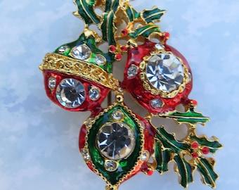 Ornament Holly Enamel Rhinestone Brooch